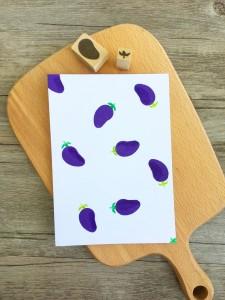 【原創印章系列】《茄子》蔬菜套色印章/用小創意玩出大樂趣~獨家限定販售中