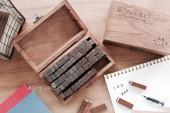【印章系列】復古仿舊字母&數字&符號章70枚(含木盒)